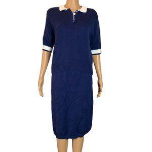 Vintage Jeanne Pierre Knit Dark Blue Skirt Set